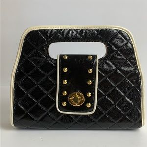 UE clutch / purse Black + cream quilted gold stud